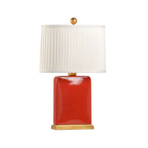 Slender Red and Gold One-Light Table Lamp