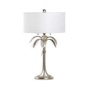 Silver Two-Light Fine Palm Table Lamp