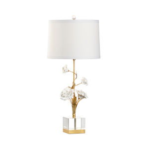 White and Gold One-Light Large Rose Table Lamp