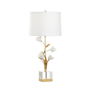 White and Gold One-Light Large Tulip Table Lamp
