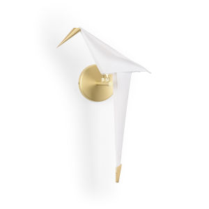 White and Gold One-Light Origami Bird Wall Sconce