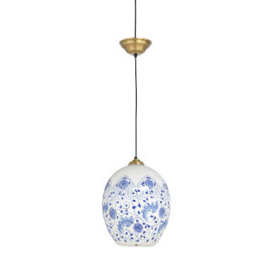 Blue and White One-Light Pendant