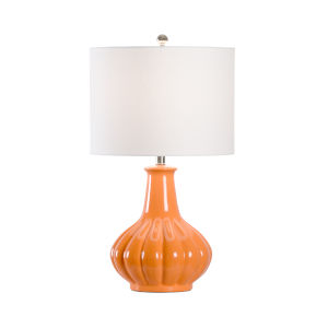 Polished Nickel One-Light Ribbed Table Lamp