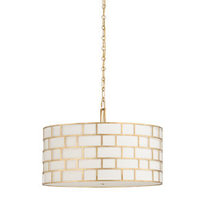 Masonry Antique Gold and Off White Three-Light Pendant