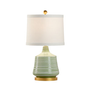 Beehive Green and White One-Light Table Lamp