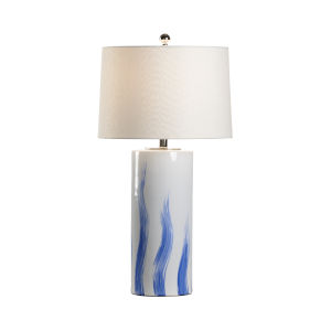 White and Blue One-Light Brush Table Lamp