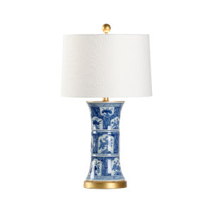 London Blue and White with Gold One-Light Table Lamp
