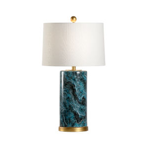 Malachite and Gold One-Light Cylinder Table Lamp