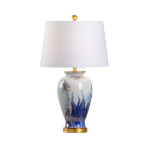 Fire Blue and White One-Light Fire Vase Table Lamp