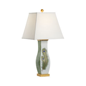 Multicolor One-Light Peacock Feather Table Lamp