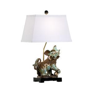 Black One-Light Chinese Dog Left Table Lamp