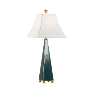 Quetzal Green and Metallic Gold One-Light Pyramid Table Lamp