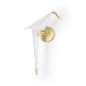 White and Gold One-Light Origami Bird Left Wall Sconce