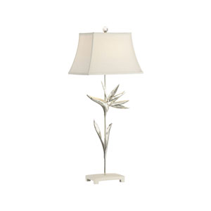 Paradise Antique Silver and White Table Lamp