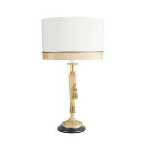 Jewelers Antique Brass and White Hammer Table Lamp