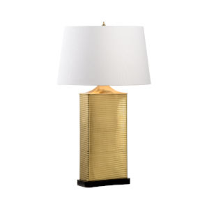 Uptown Antique Brass and White Table Lamp