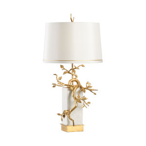 Fujian Natural White and Antique Gold Table Lamp