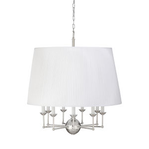 Jermyn Street Polished Nickel and Off White Large Chandelier