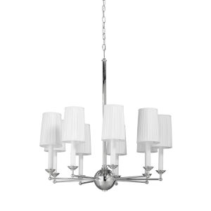 Jermyn Street Polished Nickel and Off White Single Tier Chandelier