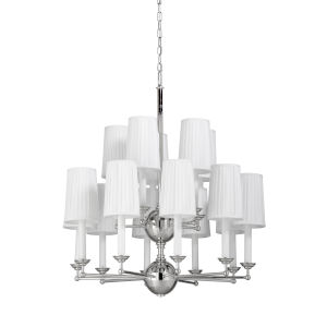 Jermyn Street Polished Nickel and Off White Double Tier Chandelier