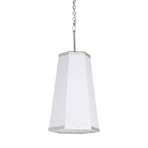 High Street Polished Nickel and White Hexagon Pendant