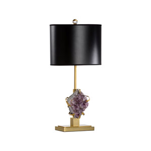 Antique Brass and Amethyst Table Lamp