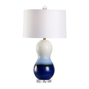 Coastal White and Dark Blue Glaze One-Light Table Lamp