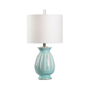 Vietri Aqua and Aged Cream Glaze One-Light Table Lamp