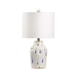 Vietri Aged Cream and Cobalt Glaze One-Light Table Lamp
