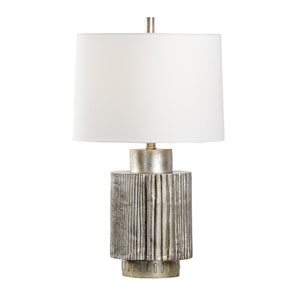 Transitional Antique Silver Leaf One-Light Table Lamp