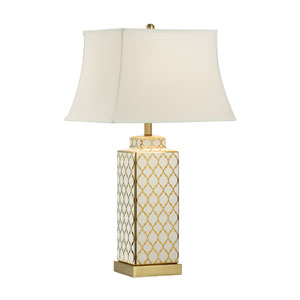 MarketPlace Gold and White One-Light Table Lamp