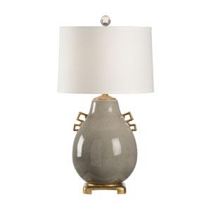 Slate Gray Crackle Glaze One-Light Table Lamp