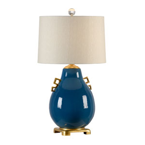 Transitional Largo Blue Glaze One-Light Table Lamp