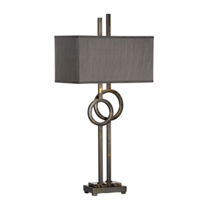 Transitional Scorched Bronze Two-Light Table Lamp