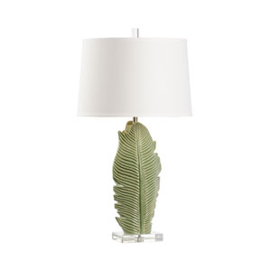 Green Glaze and Clear One-Light Table Lamp