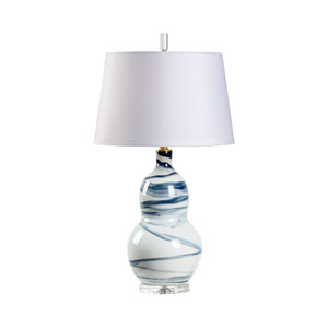 Blue and White Glaze One-Light Table Lamp
