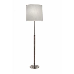Satin Nickel and Faux Black Leather 65-Inch One-Light Floor Lamp