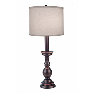 Oxidized Bronze One-Light Buffet Lamp with Cream Aberdeen Hardback Shade