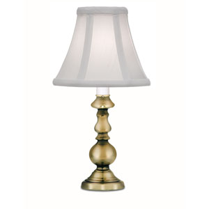 Burnished Brass One-Light Candle Lamp with Off White Silk Shantung Shade
