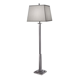 Black Nickel One-Light Floor Lamp with Global White Shade