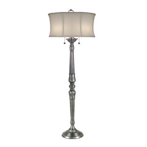 Pewter One-Light Floor Lamp with Off White Camelot Shade