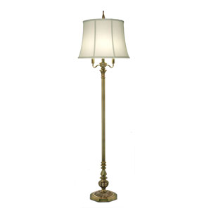 Antique Brass Four-Light Floor Lamp with Ivory Shadow Shade