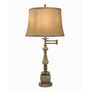 Amber Tortoise Shell One-Light Swing Arm Table Lamp with Tan Silk Shantung Shade