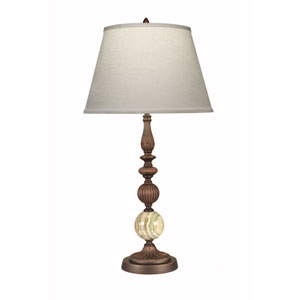 Oxidized Bronze with Green Onyx One-Light Table Lamp with Cream Aberdeen Hardback Shade