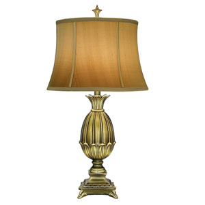 Florentine One-Light Table Lamp with Tan Silk Shantung Shade