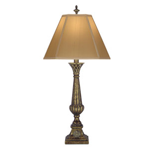 Amber Tortoise Shell One-Light Table Lamp with Tan Silk Shantung Shade