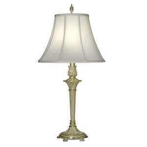 Satin Brass and White One-Light Table Lamp with Off White Silk Shantung Shade