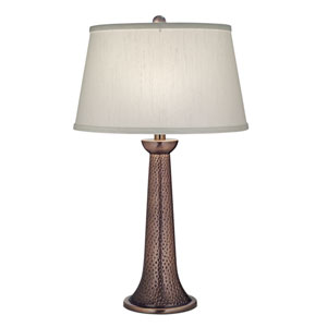 Antique Copper One-Light Table Lamp with Global White Shade