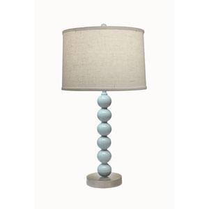 Light Blue Gloss with Satin Nickel One-Light Table Lamp with Cream Aberdeen Hardback Shade