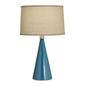 Jade Green One-Light Table Lamp with Natural Bombay Hardback Shade